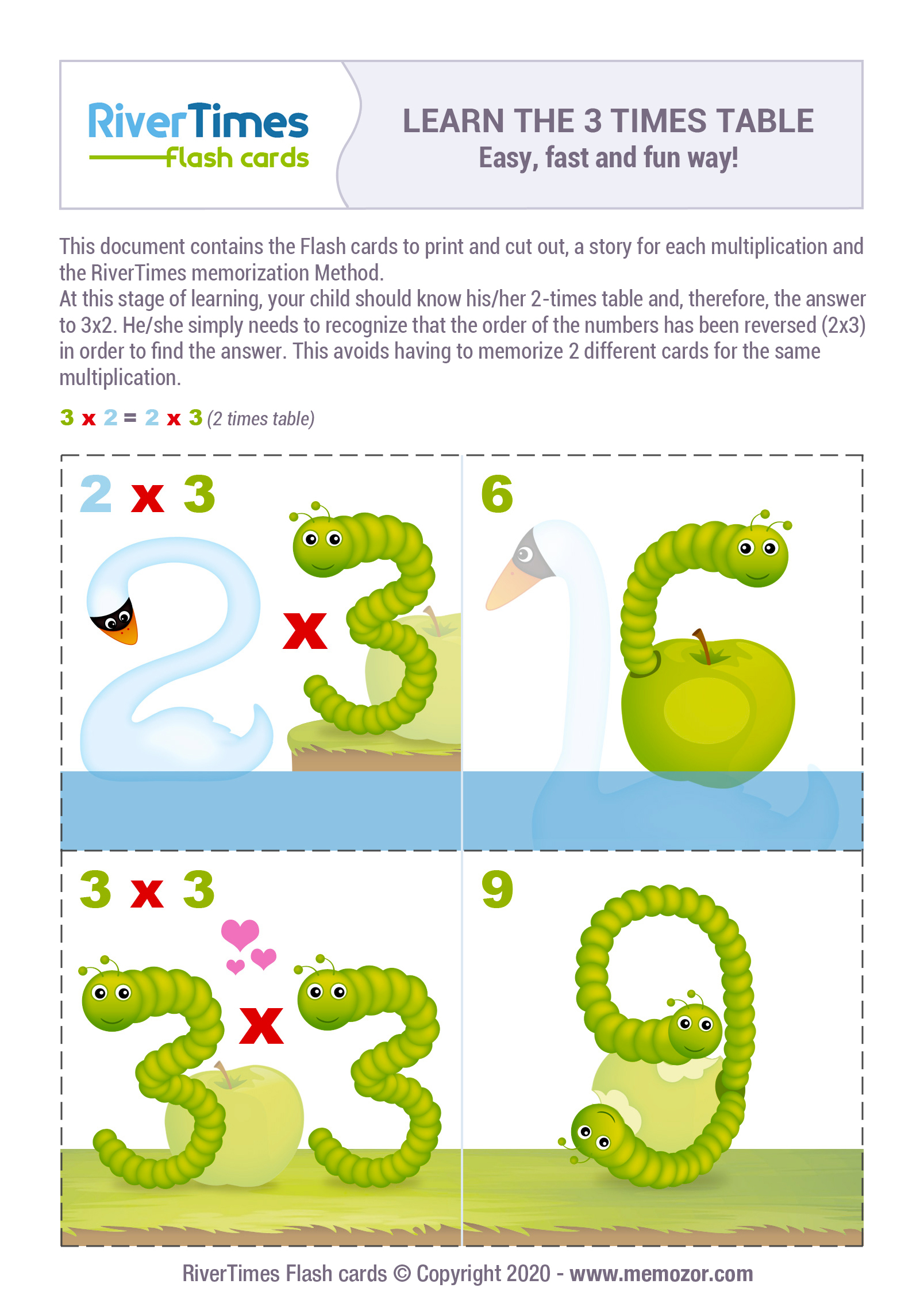 Flashcards 3 Times Table Print For Free Fun Way Rivertimes