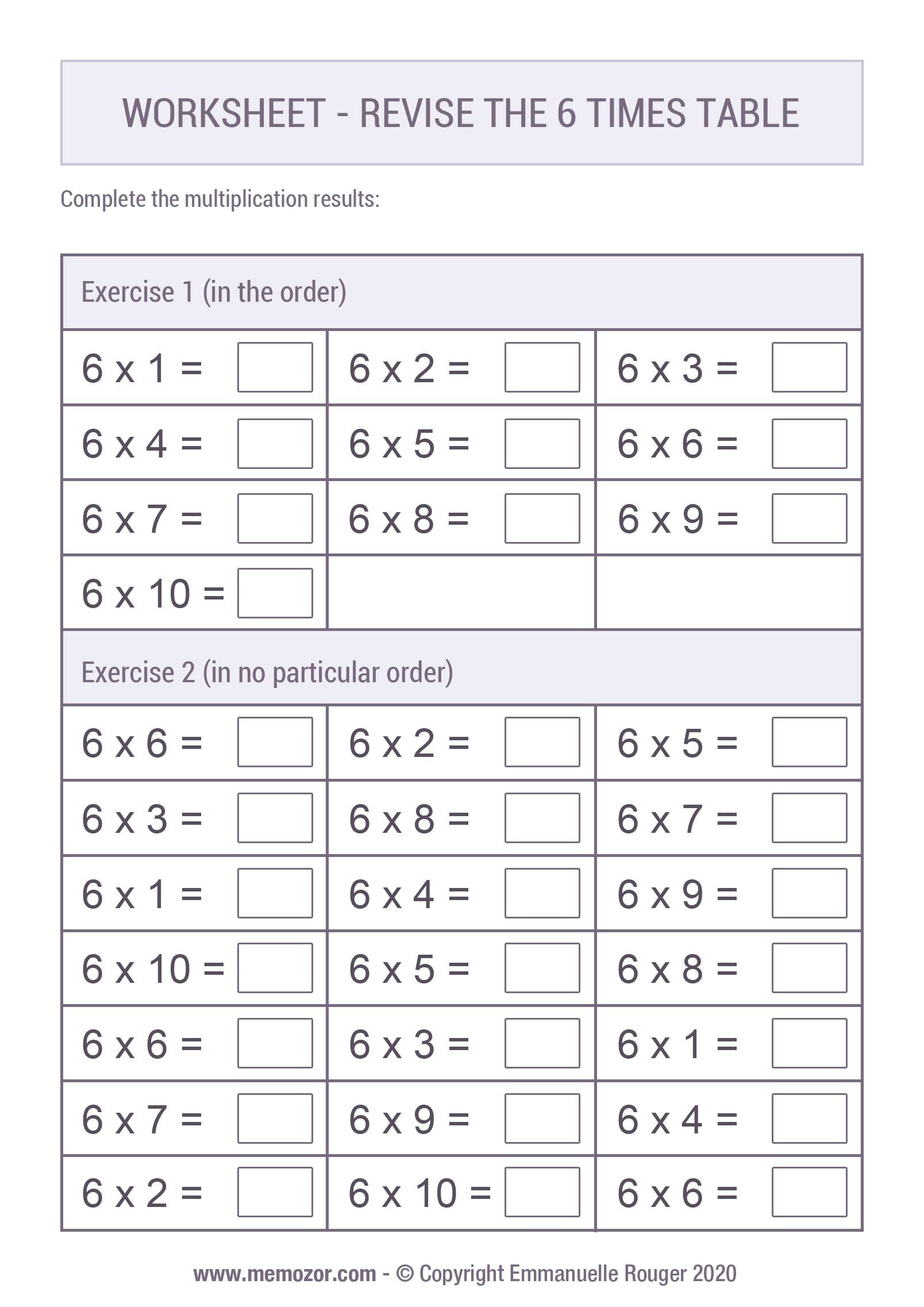 Printable Worksheet Revise The 6 Times Table Memozor