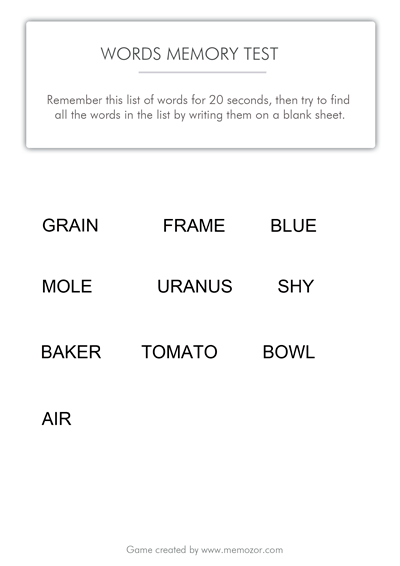 printable memory test - words to memorize (list 2)