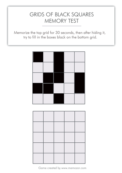 printable memory test - Black squares to memorize (grid 2)