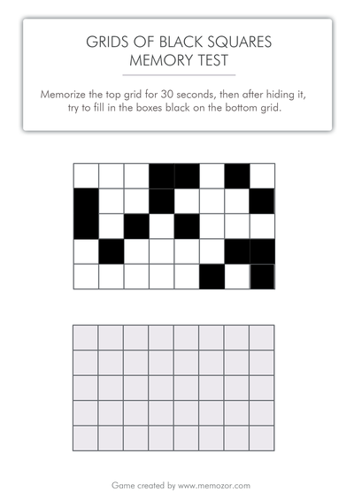 printable memory test - Black squares to memorize (grid 3)