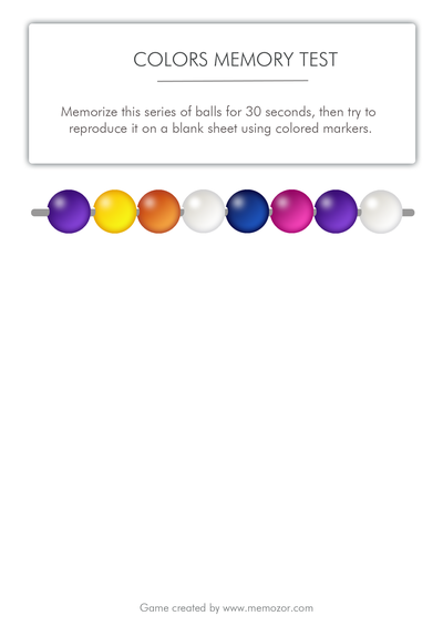 printable memory test - colors to memorize (series 1)