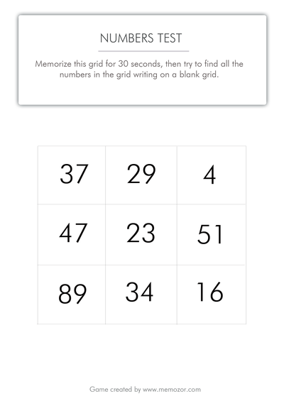 photo about Number Grid Printable titled Printable memory attempt - quantities (grid 2) - Cost-free try out!
