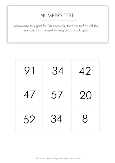 printable memory test - numbers to memorize (series 3)