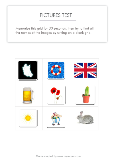 Printable Memory Test Pictures Grid 1 Free Test
