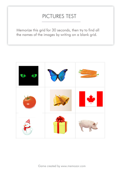 printable memory test - pictures to memorize (series 2)