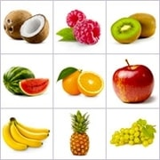 Grid of pictures - fruits