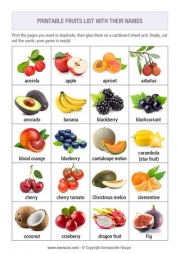 Free printable memory game for kids - Fruits and vegetables