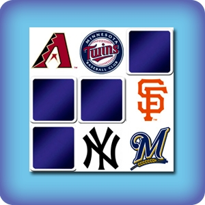Memory game for kids - baseball teams logos - online and free