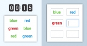 Words memory game - list of words on colored background