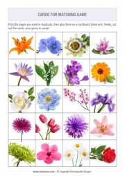 Free printable memory game for seniors - flowers