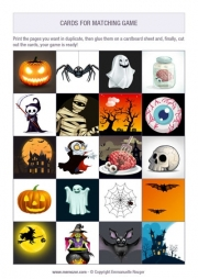 Free printable memory game for kids - Halloween