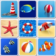 Grid of pictures for kids - The beach
