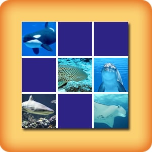 Matching game for seniors - Marine animals - online and free