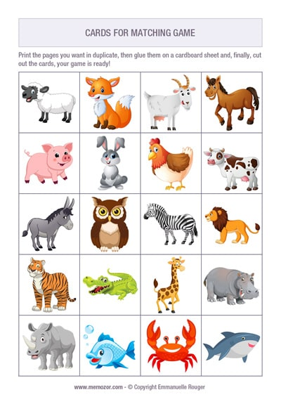 free Animals memory for kids to print