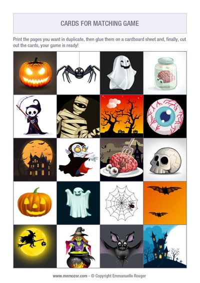free Halloween memory for kids to print