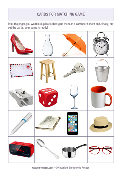 printable memory game for adults - everyday objects