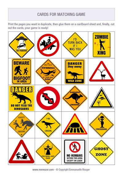 Printable memory game for kids- funny road signs