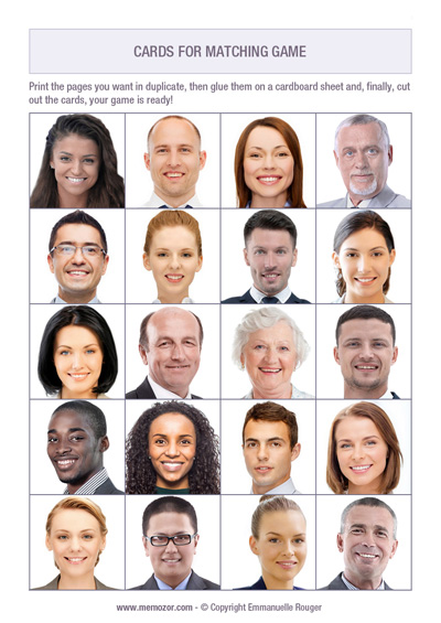 printable memory game for seniors - faces