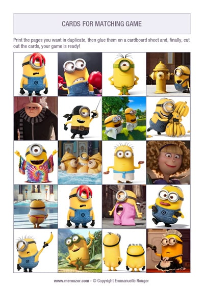 free printable memory game kids the minions