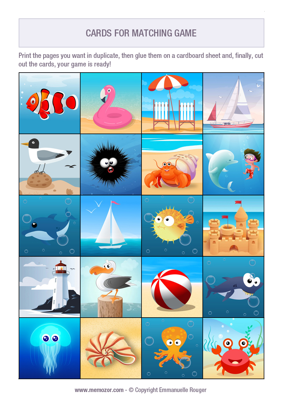 Printable matching game for kids - beach - Print and cut out the cards   Memozor