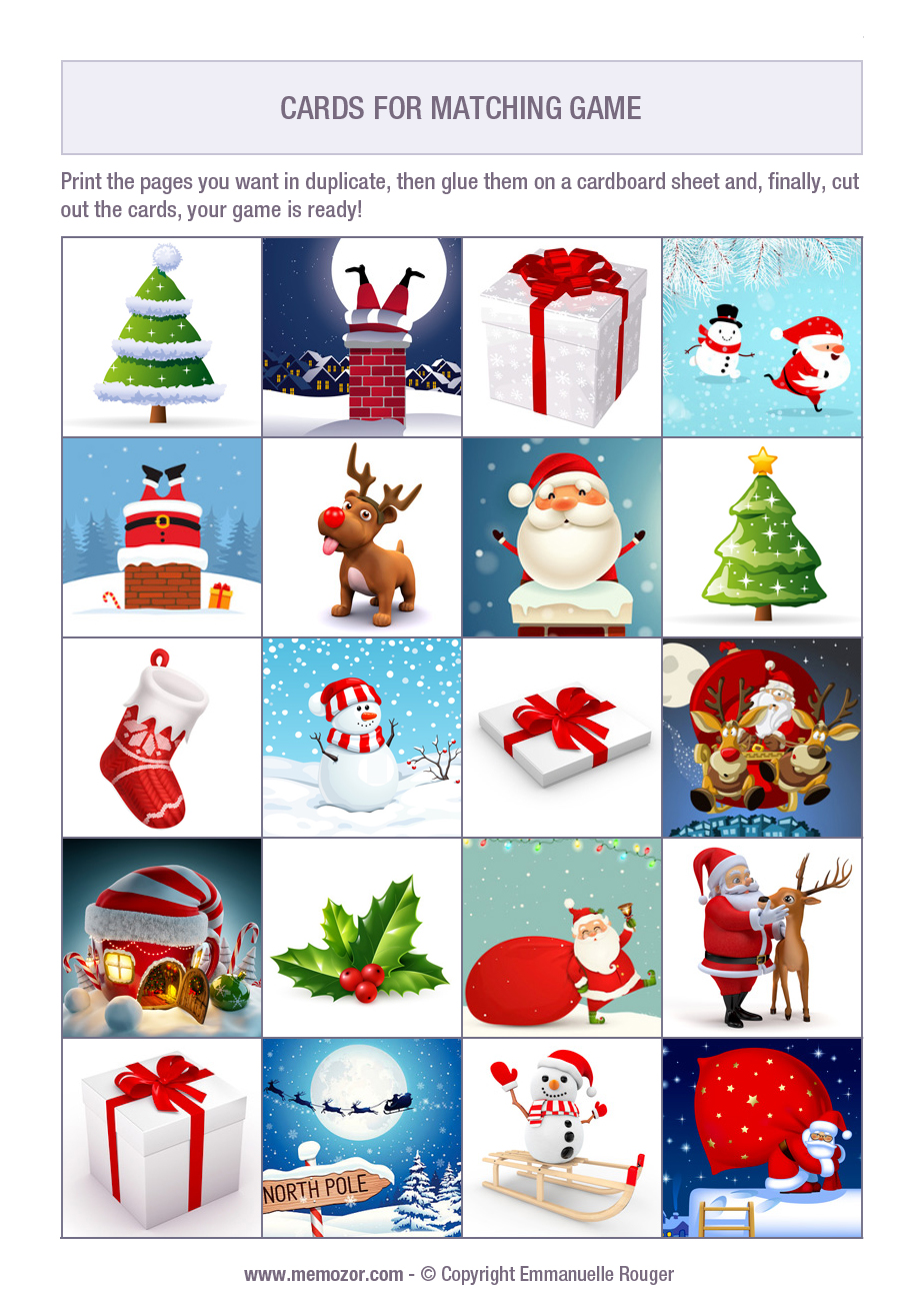 memory game christmas to print