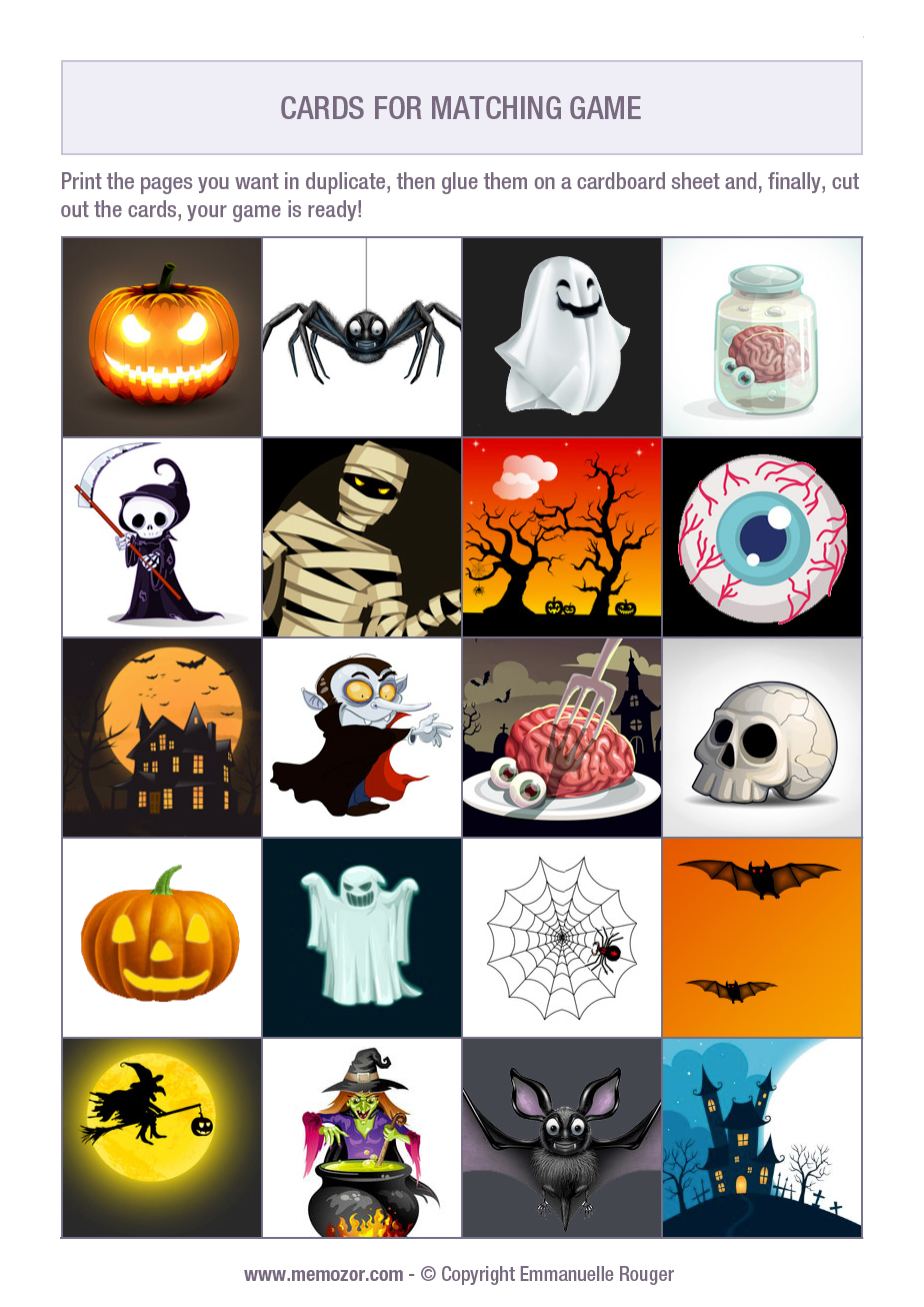 Halloween memory game to print