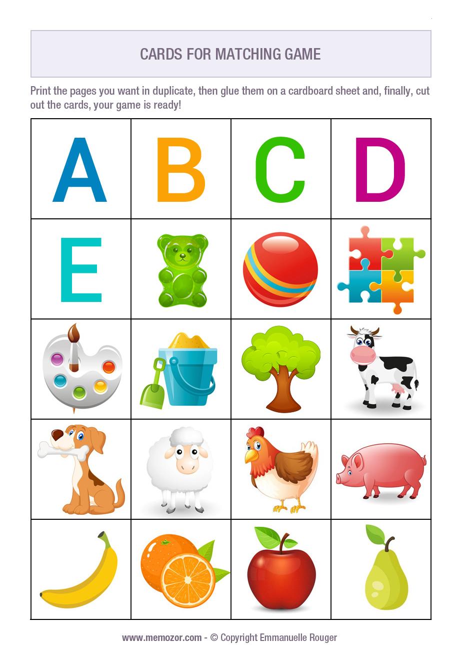 kindergarten memory game to print. Black Bedroom Furniture Sets. Home Design Ideas