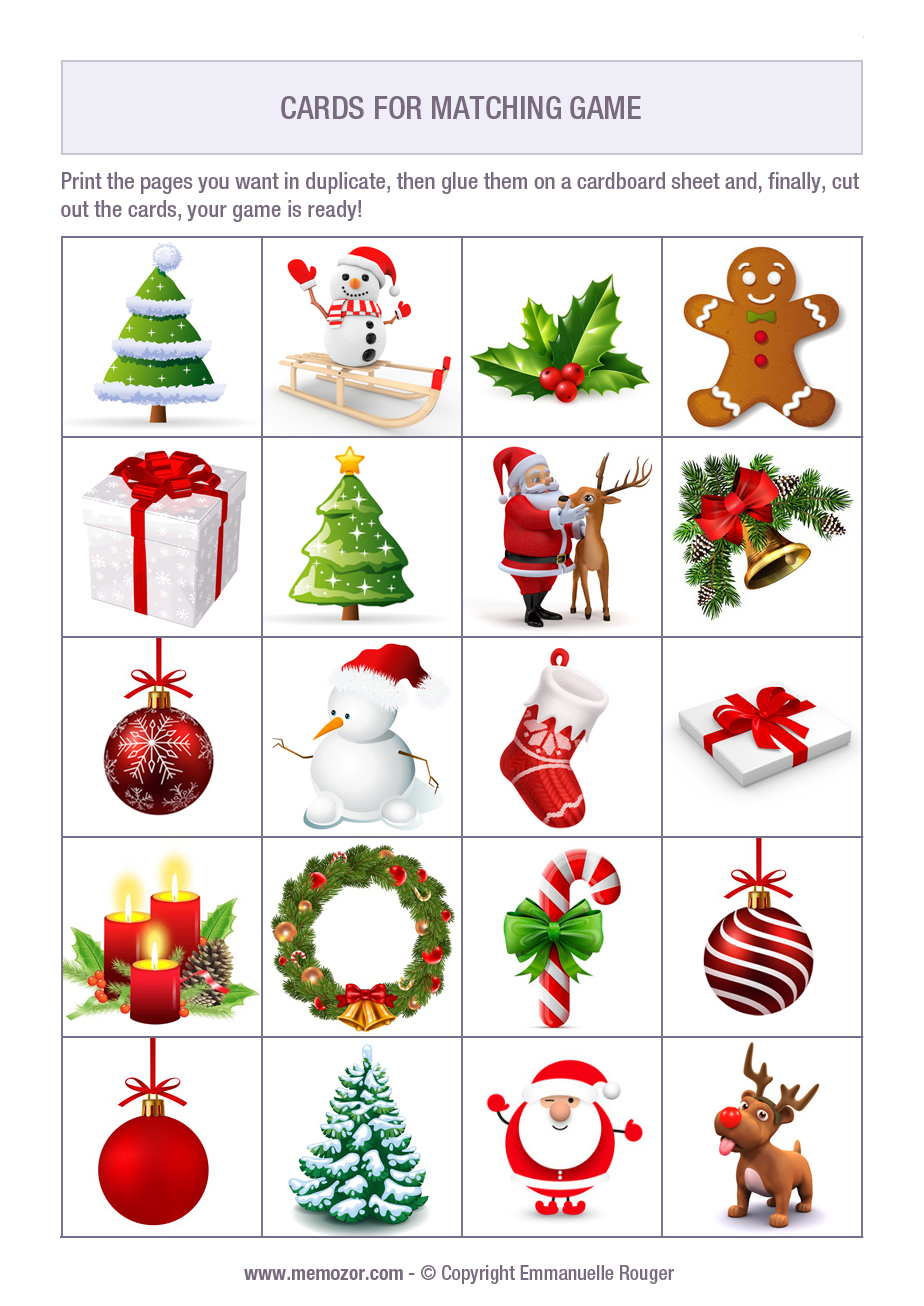 picture relating to Printable Memory Activities for Adults named Free of charge printable memory video game for older people - Xmas - Print