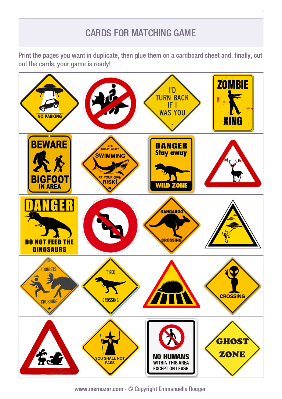 Free Printable Memory Game For Kids Funny Road Signs