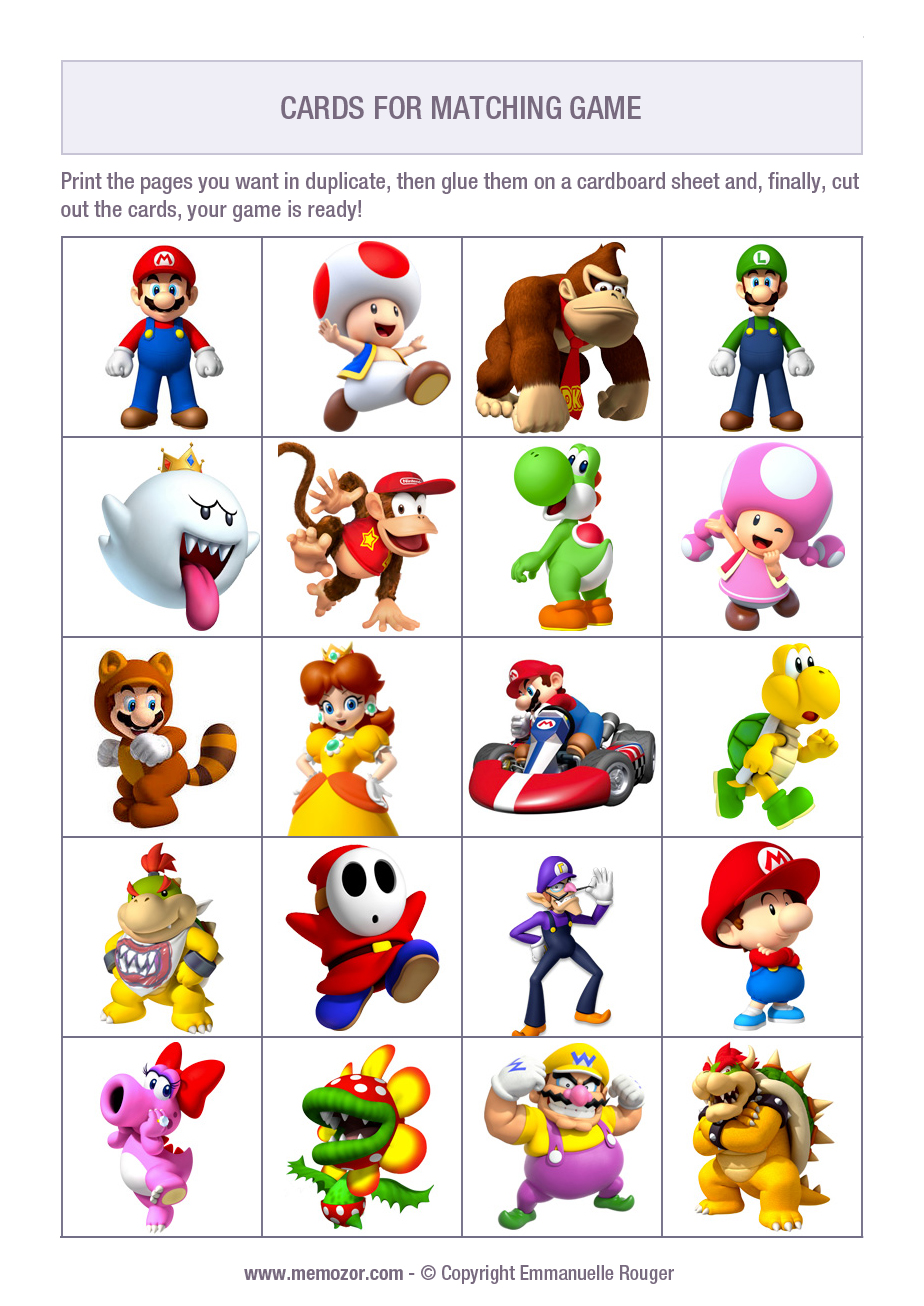 Free Printable Memory Game For Kids Mario Kart Print And Cut Out The Cards Memozor