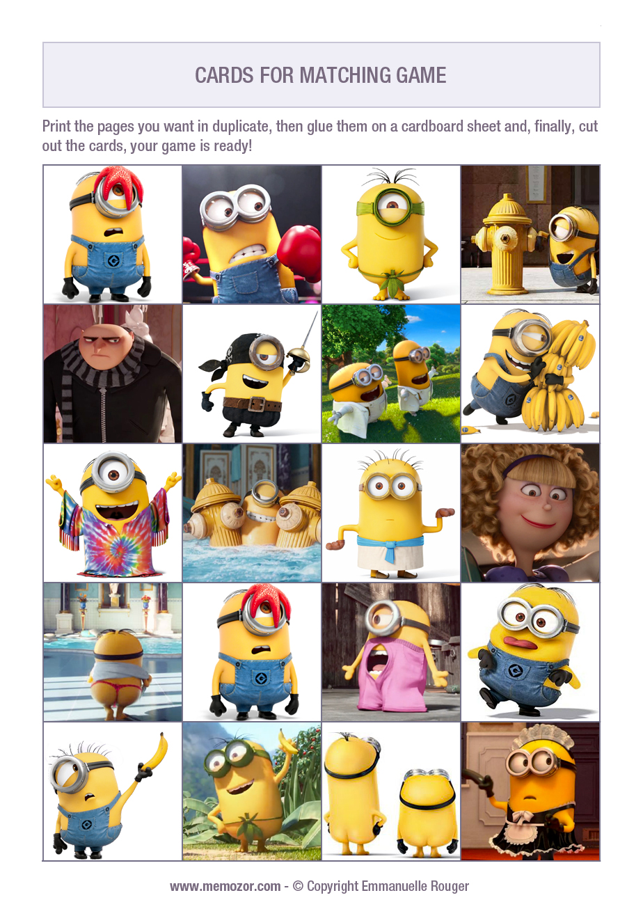 graphic relating to Printable Minion identified as No cost printable memory match for youngsters - The Minions - Print