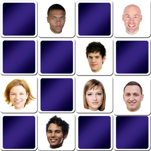 memory game for adults - people faces memory - online and free