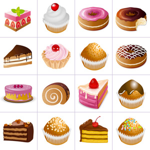 Grid of pictures to memorize for kids - cakes