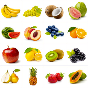 Grid of pictures to memorize - fruits