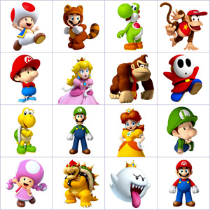 Grid of pictures to memorize - Mario kart