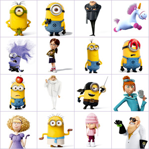 Grid of pictures to memorize - The minions