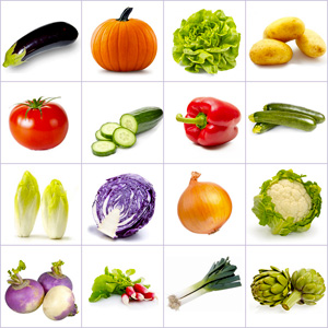 Grid of pictures to memorize - vegetables
