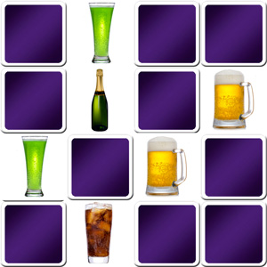 Online memory game for adults - drinks