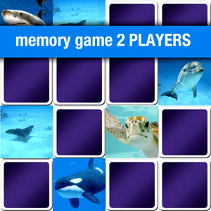 memory game 2 players - marine animals