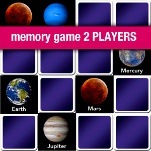 memory game 2 players - learn the name of the planets of solar system