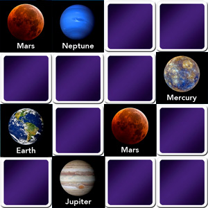 memory game for adults planets