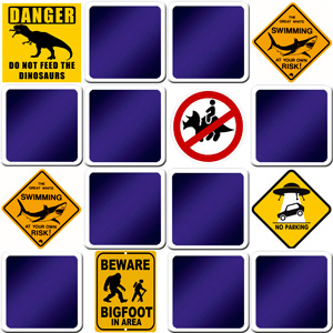 memory game for kids - Funny Road signs - online and free