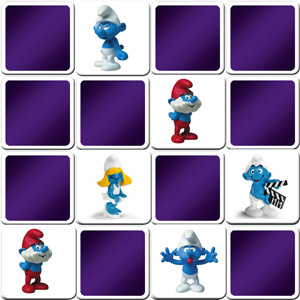 memory game smurfs figurines