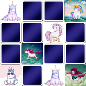 memory game for kids - unicorns