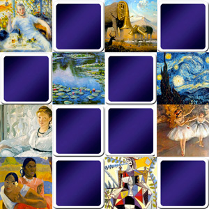 memory game for adults - Paintings from famous painters