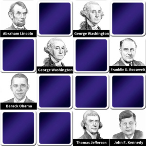 memory game for seniors - Presidents of the US - online and free