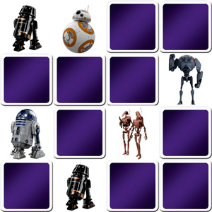 memory game Star Wars droids and robots