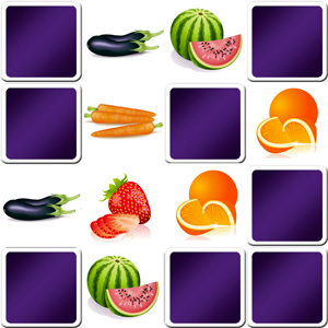 giant memory game with a large number of vegetables eggplant