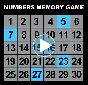 Numbers memory game - light up numbers